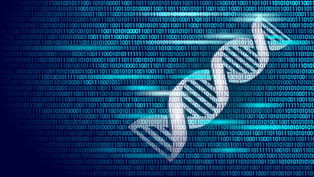 DNA binary code future computer technology concept. Genome science structure modified GMO engineering molecular symbol.