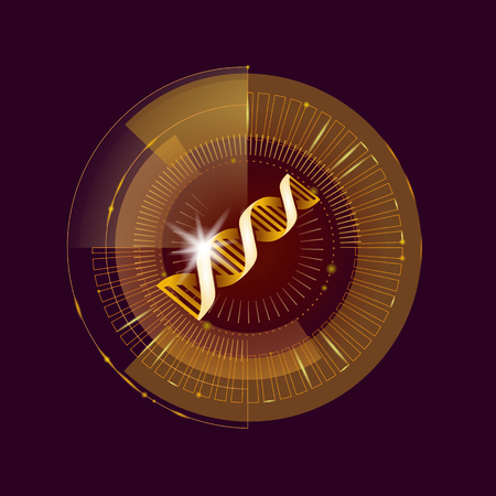 DNA binary code gold future computer technology concept.
