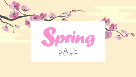 Vector watercolor sakura blossom spring sale banner template. Pink flower branch promotional poster web shop online seasonal background Japanese style design illustration