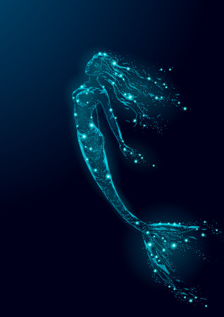 Low Poly Meerjungfrau Dreieck Mythos Kreatur Fee Fantasie Mystiker. Poligonale Punktlinie glühende blaue dunkle Nachtkonstellationssterne. Schöne Unterwassertiefenozeanvektor-Illustrationskunst