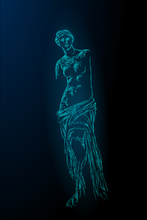 Aphrodite of Milos Venus de Milo ancient Greek statue low poly modern concept. Polygonal triangle point line dark blue background museum poster template vector illustration art