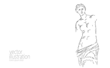 Aphrodite of Milos Venus de Milo ancient Greek statue low poly modern art. Polygonal triangle point line abstract white gray monochrome background museum poster template vector illustration art