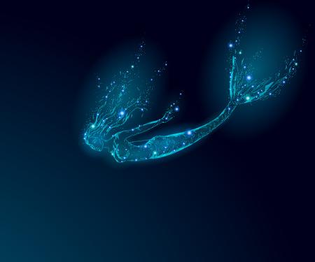Low poly mermaid triangle myth creature sadness depressive falling mystic. Poligonal point line glowing blue dark night death star. Beautiful underwater depth ocean vector illustration art.