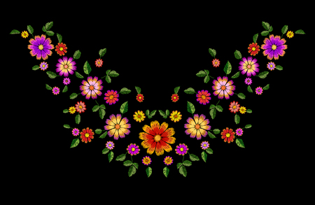 Bright flower embroidery colorful patch. Fashion decoration stitched texture template. Ethnic traditional daisy field plant leaves textile print design vector illustration art