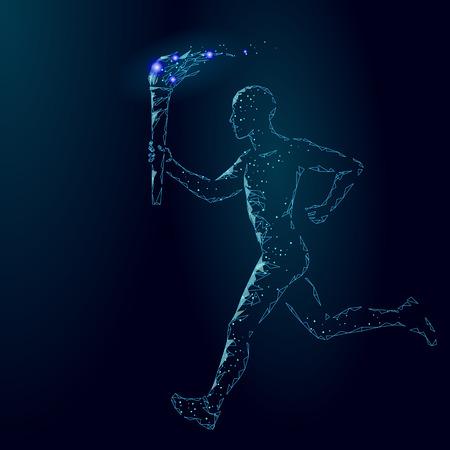 Torchbearer hold  fire torch athlete run low poly. Polygonal modern 3d render dark blue star international sportsman man runner vector illustration banner background template art