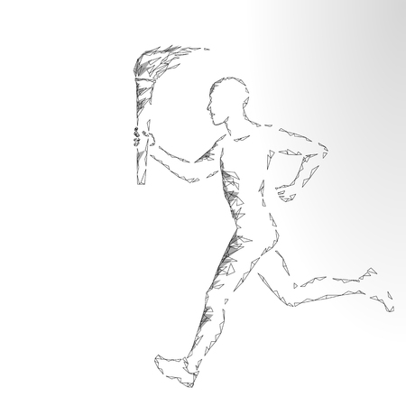 Illustration of an athlete holding a fire torch while running.