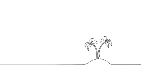 Single continuous line art coconut tree palm. Tropic paradise island landscape design one sketch outline drawing vector illustration