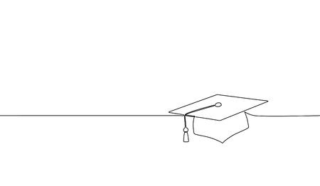 Afstuderen cap met enkele doorlopende lijn. Viering ceremonie master degree academie afgestudeerd ontwerp één schets overzicht tekening vector illustratie kunst