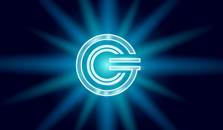 Global cryptocurrency GCC coin geometric glowing symbol. 3d render metallic star light digital electronic banking future innovation business technology vector illustration Illustration
