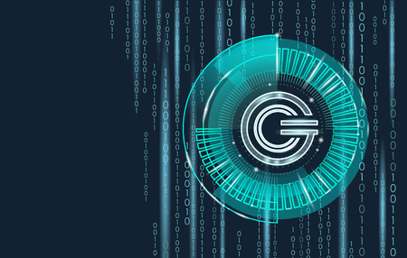 Global cryptocurrency GCC coin geometric glowing symbol. 3d render hud target display digital electronic banking future innovation business technology vector illustration Illustration