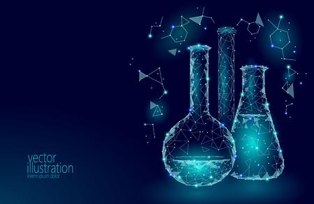 Frascos de vidrio químico de baja poli ciencia. Equipo mágico triángulo poligonal azul brillante investigación futura tecnología negocio medicina concepto vector ilustración