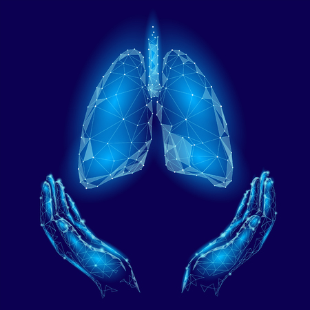 World Tuberculosis Day poster human lungs in hands blue background. TB awareness health care medicine center. Medical solidarity day concept low poly polygonal triangle line. Vector illustration.