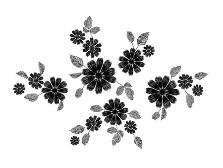 Embroidery white lace floral pattern small branches wild herb with little blue violet field flower. Ornate traditional folk fashion patch design black background vector illustration art