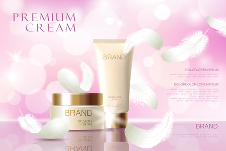 Realistic skin care cream, Tube spray, container cosmetic light background silk soft fabric white feather. 3d template mock up for branding to promote luxury cosmetic product vector illustration art
