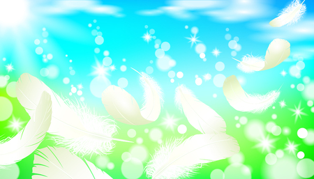 Realistic bright sunny spring landscape green grass blue sky light background white swan bird feather flying. 3d template promotional summer nature seasonal sale poster vector illustration Иллюстрация