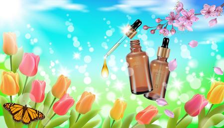 Realistic cosmetic bottle spring landscape green grass blue sky light background tulip flower butterfly sakura cherry blossom. 3d medicine drug allergy pollinosis branding product vector illustration