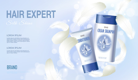 Realistic hair shampoo conditioner. Tube container cosmetic light background blue sunny sky spring white feather. 3d template mock up branding cosmetic care product vector illustration.