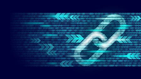 Blockchain-Hyperlink-Symbol auf Big-Data-Flow-Informationen mit Binärcode. Kryptowährungsfinanzierungsgeschäftskonzeptvektorillustrationshintergrundschablonenkunst Vektorgrafik