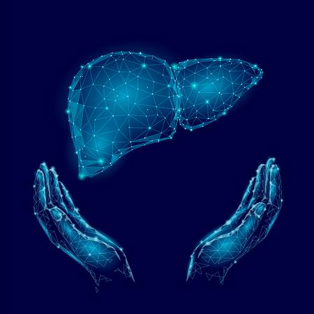 Wereld Hepatitis Day bewustzijn met menselijke handen en lever op blauwe achtergrond