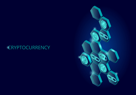 Blockchain blue isometric composition. Flat glowing hexagon sign safety shield Bitcoin Ethereum Ripple coin cryptocurrency online global 3d payment digital mining vector illustration art Illustration