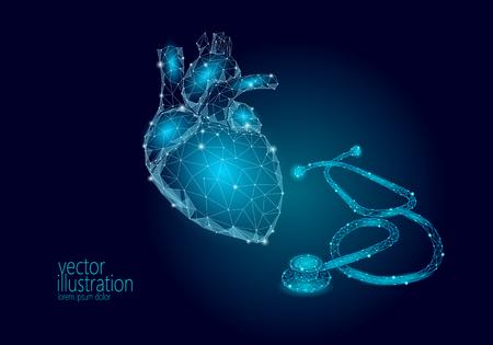 Prevención del ataque del infarto del Día Mundial de la Salud del Corazón. Medicina bajo poli render órgano humano estetoscopio poligonal geométrico vector ilustración arte Ilustración de vector