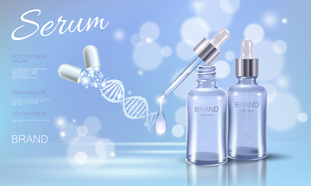 Realistic 3D innovation cosmetic DNA helix light package makeup face care blue sky glowing blur drug capsule medicine center vector illustration art