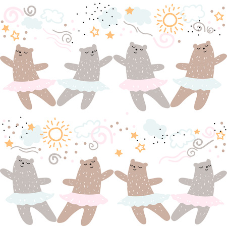 Animali della foresta che ballano modello senza cuciture di balletto. Elemento di progettazione della stampa del tessuto di rosa del carattere della ballerina del disegno della mano dell'orso selvaggio dei bambini della natura selvaggia del fumetto sveglio. Illustrazione di doodle di vettore
