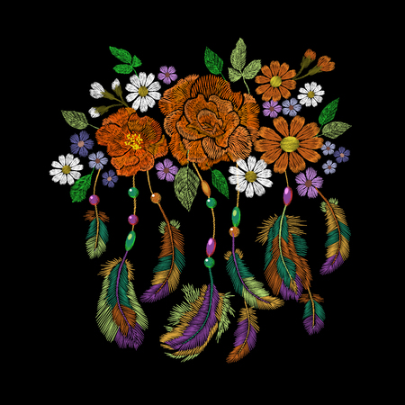 Embroidery boho native american indian feathers flowers arrangement. Clothes ethnic tribal fashion design decoration patch. Fashionable template vector illustration art