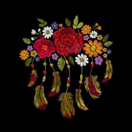 Embroidery boho native feathers, flower arrangement vector illustration  イラスト・ベクター素材