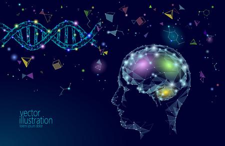 Concepto de negocio inteligente de cerebro humano IQ. Suplemento de fármacos nootrópicos de aprendizaje electrónico, medicina del ADN, neurociencia, braingpower. Lluvia de ideas idea creativa proyecto trabajo baja poli ilustración vectorial poligonal