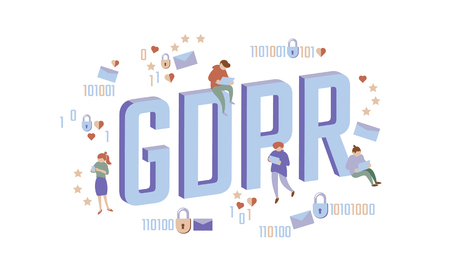 GDPR law isometric people concept. Small men Big letters flat 3D like padlock general data protect regulation security. Pastel color privacy personal information safety vector illustration 일러스트