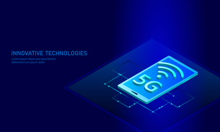 5G new wireless internet wifi connection. Smartphone mobile device isometric blue 3d flat. Global network high speed innovation connection data rate technology vector illustration Vectores