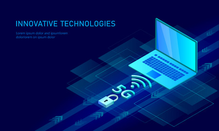 5G new wireless internet wifi connection. Laptop mobile device isometric blue 3d flat. Global network high speed innovation connection data rate technology vector illustration Illustration