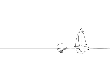 Single continuous one line art sunny ocean travel vacation. Sea voyage sunrise holiday tropical island ship yacht luxury journey sunset concept design sketch outline drawing vector illustration