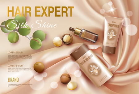 Realistic 3d macadamia nut oil cosmetic ad template. Light golden silk fabric hair shampoo conditioner serum transparent glass beauty care. Promotional poster template top view vector illustration