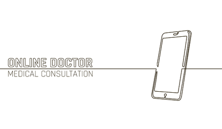 Doctor online medical app mobile applications. Digital healthcare medicine diagnosis concept banner. Human smartphone one line continuous sketch doodle drawing technology vector illustration 일러스트