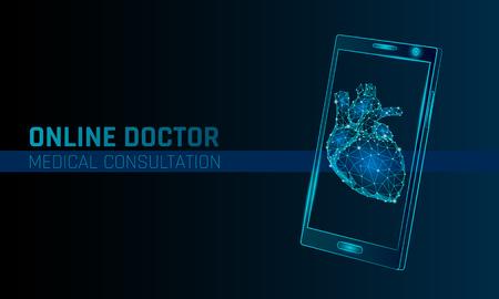 Doctor online medical app mobile applications. Digital heathcare medicine diagnosis concept banner. Human heart smartphone low poly geometric innovation technology vector illustration Vector Illustration