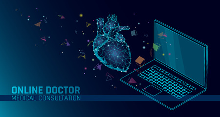 Doctor online medical app mobile applications. Digital healthcare medicine diagnosis concept banner. Human heart laptop low poly geometric innovation technology vector illustration