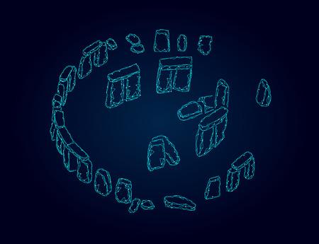 Stonehenge low poly geometric banner. Summer solstice historical calculations analysis polygonal science technology. Wireframe blue architecture stone travel tourism England UK vector illustration Ilustração