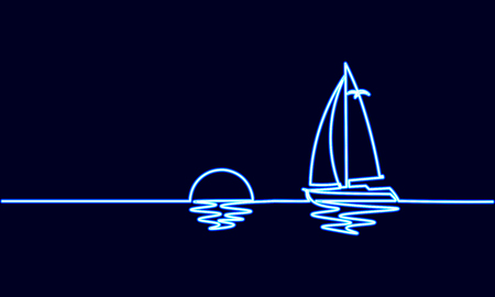 Neon sign single continuous one line art sunny ocean travel vacation. Sea voyage ship yacht luxury journey sunset concept design sketch outline light banner vector illustration art Illustration