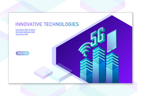 5G new wireless internet wifi connection. Smartphone mobile device isometric blue 3d flat. Global network high speed innovation connection data rate technology white card banner vector illustration