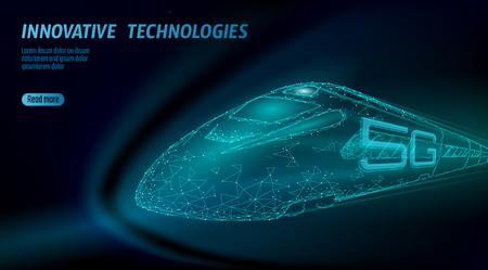 Nuevo concepto de wifi de internet inalámbrico de ferrocarril de alta velocidad 5G. Tren ferroviario superior rápido global. Ilustración de vector de tecnología de velocidad de datos de innovación de puntos conectados triángulo poligonal azul oscuro de baja poli Ilustración de vector