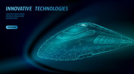Modern high-speed bullet rail business concept. Global fast higher railway train. Low poly dark blue polygonal triangle dots innovation transport passenger technology vector illustration Illustration