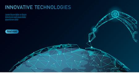 Niedriger Poly-Manipulator des Roboterarms. Erdökologie konstruieren Montage Dreiecksform. Polygonale verbundene Punkte 3D machen Roboter künstliche Maschinen Innovationstechnologie Hand Vektor-Illustration Vektorgrafik