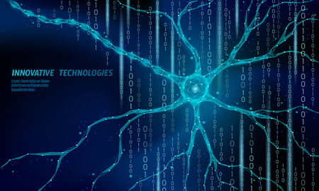 Human neuron low poly anatomy concept. Artificial neural network technology science medicine cloud computing. AI 3D abstract biology system. Polygonal blue glowing vector illustration art Stok Fotoğraf - 114705664