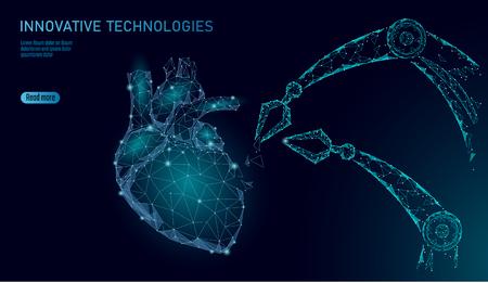 Cirugía robótica de corazón low poly. Procedimiento de cirugía de cardiología poligonal. Manipulador de brazo robótico. Tecnología de automatización de la ciencia de la medicina innovadora moderna. Ilustración de vector de forma de render 3d de triángulo