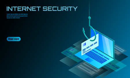 Isometric 3D laptop credit card cvv password phishing. Personal information account email online scam hacker. Spam antivirus internet security spam concept banner template card vector illustration Illustration