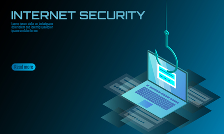 Isometric 3D laptop login password phishing. Personal information account email hacker. Spam antivirus internet security spam concept banner template card vector illustration
