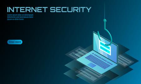 Izometryczne 3D hasło logowania do laptopa phishing. Haker konta e-mail z danymi osobowymi. Spam antywirusowy internet bezpieczeństwa spam koncepcja transparent szablon karty ilustracja wektorowa Logo