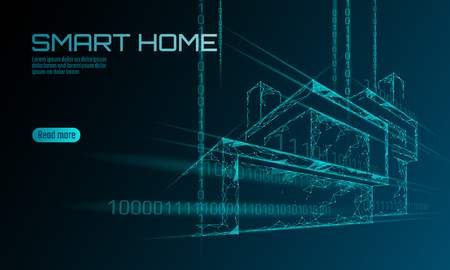 Smart house binary code low poly concept. Online control information analysis. Internet of things technology home automation system. Blue glowing polygonal triangle vector illustration banner